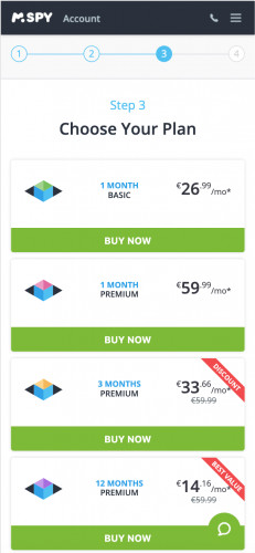 Choose mSpy subscription plan