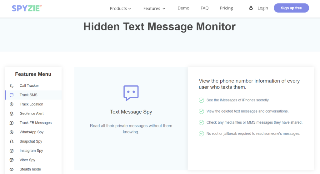 Spyzie Text Message Monitor