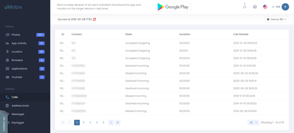 Call Tracking Interface on SpyBubble