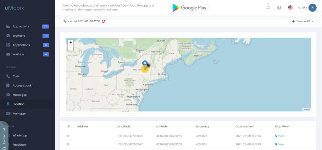 Tracking GPS location on SpyBubble