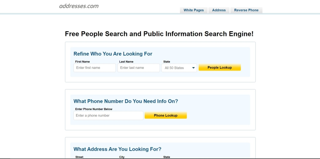 Addresses.com public information search